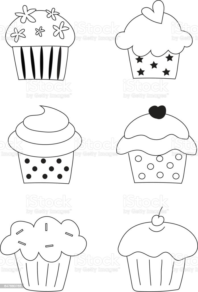 Collection Du Vecteur Cupcake Main Libre Dessin Cupcake En