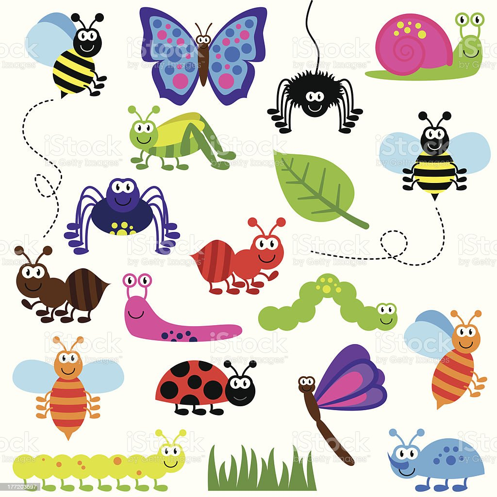 Collection of Cute and Colorful Vector Insects vector art illustration