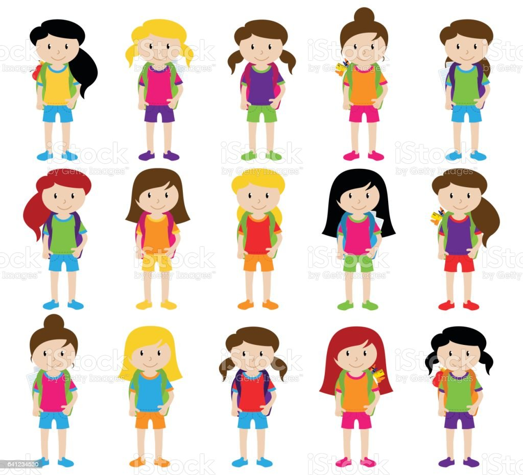 Collection of Cute and Diverse Vector Format Female Students or Graduatess ベクターアートイラスト