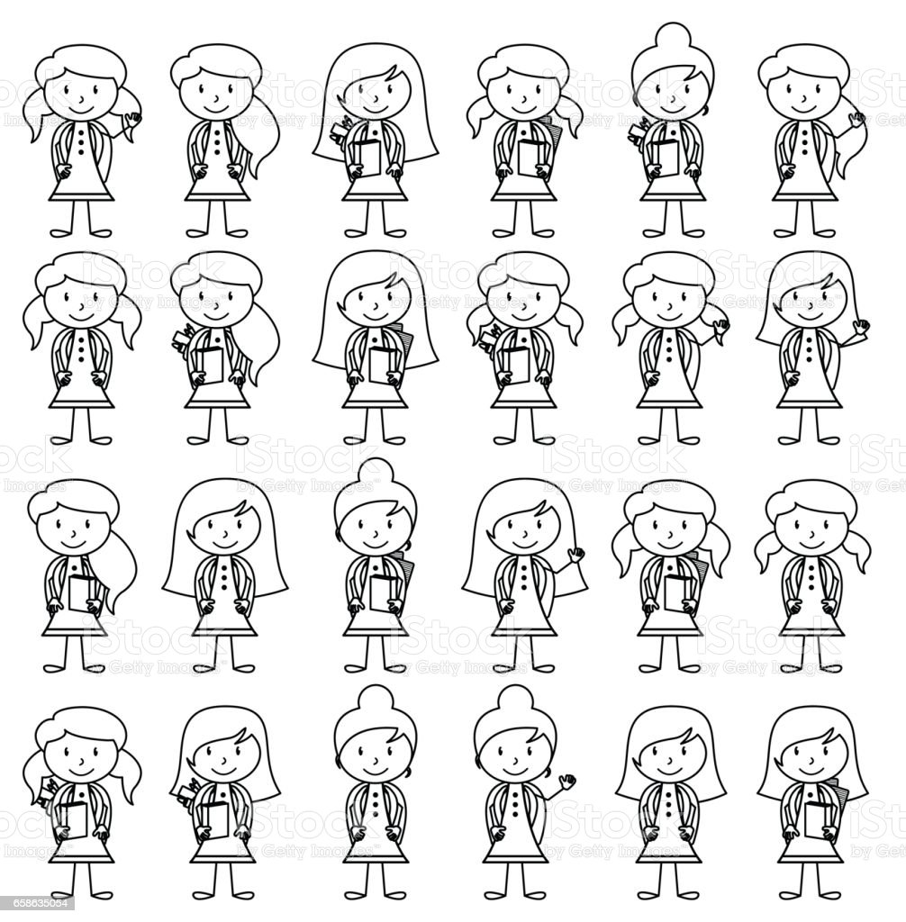 Collection of Cute and Diverse Vector Format Stick Figure Female Students with Backpacks ベクターアートイラスト
