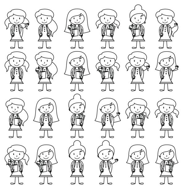 Collection of Cute and Diverse Vector Format Stick Figure Female Students with Backpacks vector art illustration