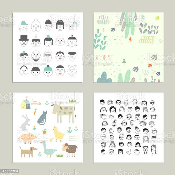Collection of cute and funny cards cartoon vector set vector id477669884?b=1&k=6&m=477669884&s=612x612&h=lv5pmlayj5nvflkzjfniex1zxabqnq4otsfglwjdbj8=
