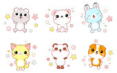 Collection of cute animals baby