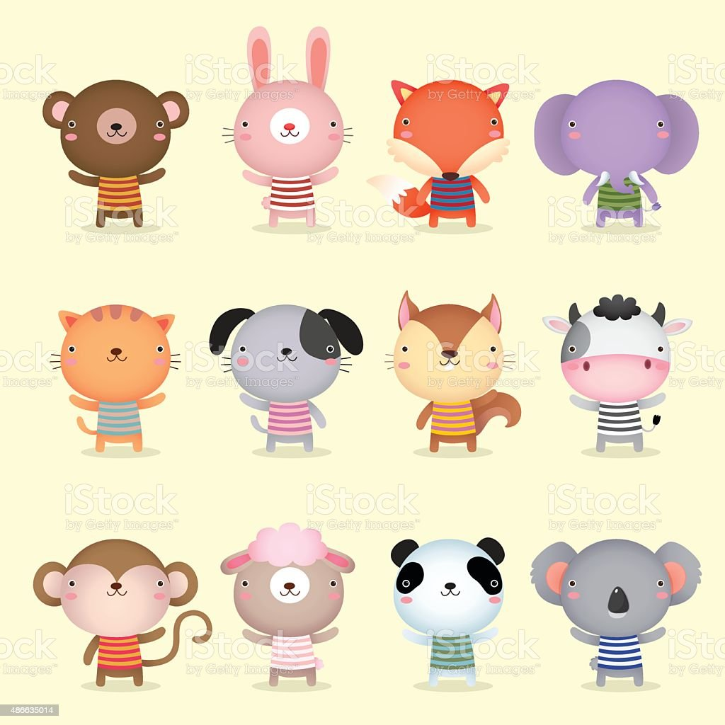 Collection of cute animals design vector art illustration