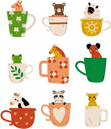 Collection of Cute Animals in Teacups, Adorable Little Pig, Bear, Lamb, Frog, Horse, Dog, Cow, Raccoon, Tiger Characters Sitting in Coffee Mug Cartoon Vector Illustration