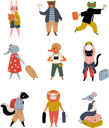 Collection of Cute Animals Tourists with Suitcases, Funny Humanized Animals Cartoon Characters with Luggage Going on Vacation Vector Illustration