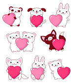 Set of cute baby animals - polar bear, panda, dog, bunny, cat. With pink and red shiny Valentine hearts kawaii style. EPS8