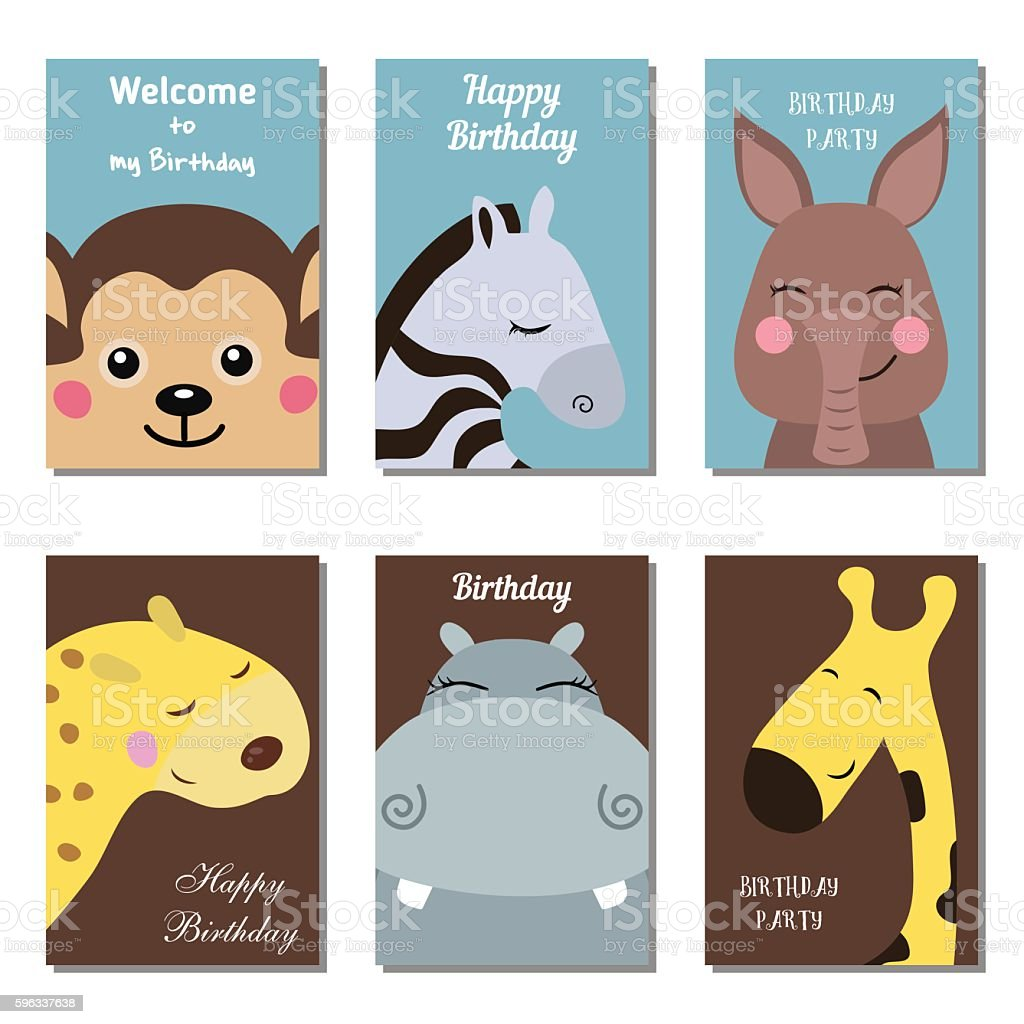 Collection of cute Birthday cards. royalty-free collection of cute birthday cards stock vector art & more images of aardvark