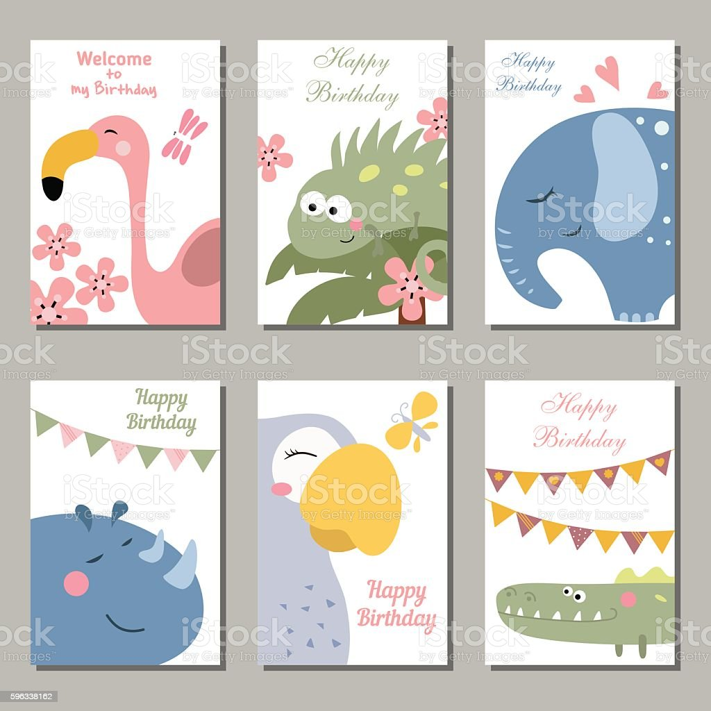 Collection of cute Birthday cards. royalty-free collection of cute birthday cards stock vector art & more images of birthday