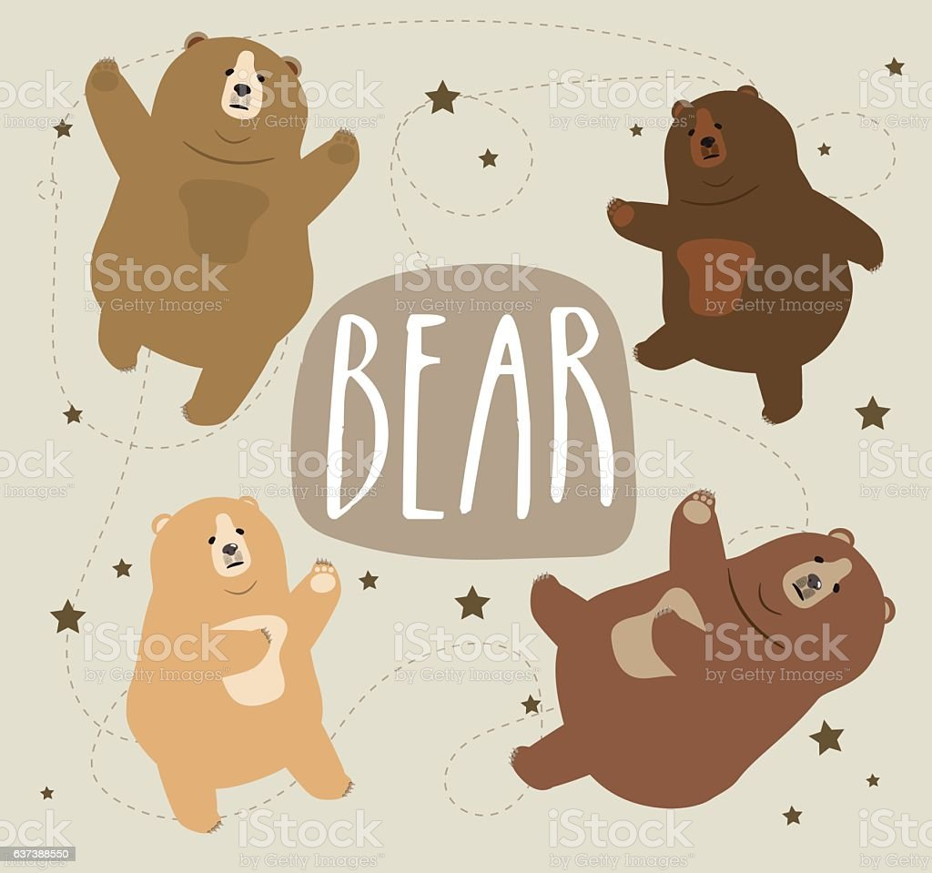 Collection of cute cartoon bear different emotions vector illustration. vector art illustration