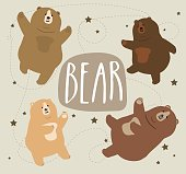Collection of cute cartoon bear different emotions vector illustration.
