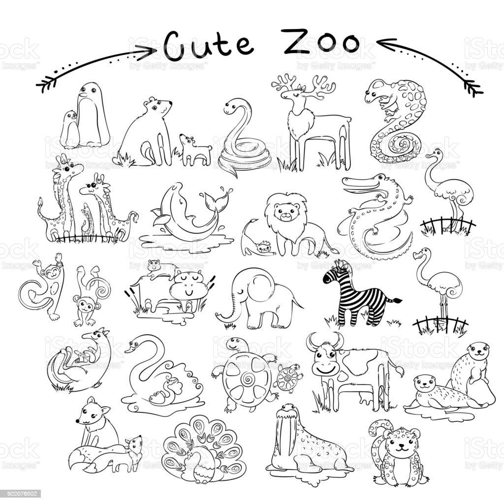 Sammlung Von Niedlichen Cartoon Doodle Tiere Und Vögel Der Welt Für ...