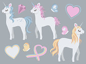 Collection of cute cartoons tyle different closed eyes white unicorns with pink, blue and gold mane together with hearts and butterflies vector drawing illustration