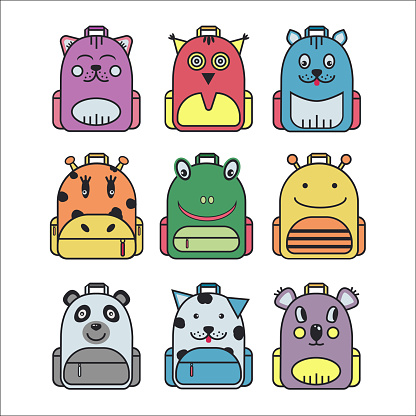 Collection of cute children school backpack.