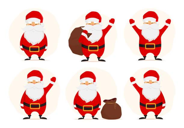 Collection of Cute Christmas Santa. vector art illustration
