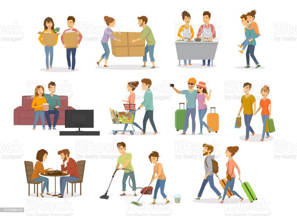 collection d'activités couples mignons, homme et femme, faire du shopping dans le centre commercial, supermarché, se déplaçant dans une nouvelle maison, nettoyage, regarder la télévision sur le canapé, voyager, cuisiner, jouer aux échecs, s'amusant vector illustration jeu - Illustration vectorielle