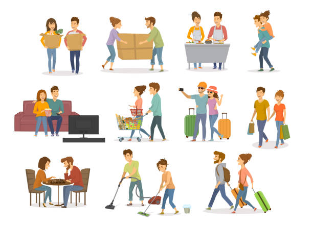 collection of cute couples activities, man and woman shopping in mall, supermarket, moving in a new home, cleaning, watching tv on sofa, travel, cooking,  playing chess, having fun vector illustration set - couple stock illustrations