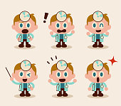 Cute characters vector art illustration. Collection of cute doctor characters with a big head and small body and concave mirror and stethoscope. With 6 facial expressions including smiling, angry, worried, shock, talking, etc.