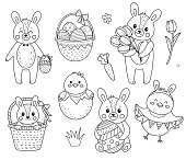 Set of ouline easter chickens, bunnies and elements.Hare with eggs and basket. Chicken with flags. Vector illustration. Hand drawn elements.
