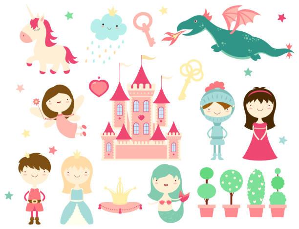 sammlung von niedlichen märchenfiguren - prince stock-grafiken, -clipart, -cartoons und -symbole