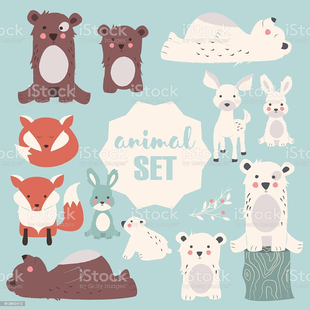 Collection of cute forest and polar animals with baby cubs vector art illustration