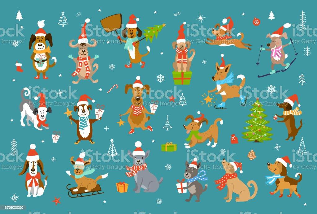 Sammlung Von Suss Lustig Weihnachten Und Frohes Neues Jahr 2018 Hunde