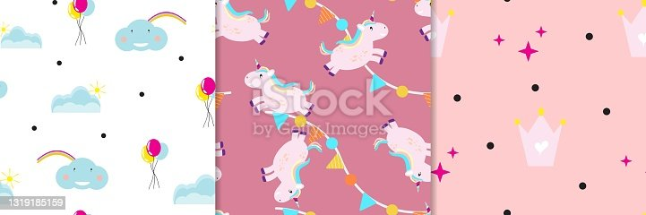 Collection of cute girly patterns. Vector pattens.