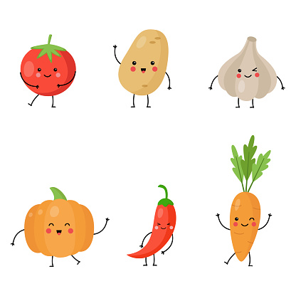 Collection of cute kawaii vegetables on white background.