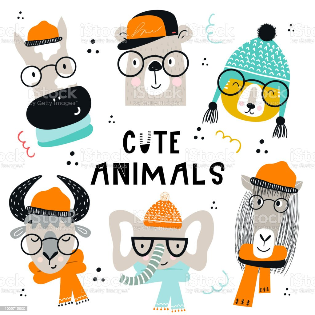 Collection of cute kids cartoon animals with clothes and accessories. Set of wild characters in scandinavian style. vector art illustration