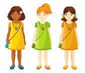 Ginger, dark-haired girls. Black girl. Full-length portrait.