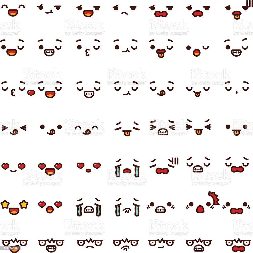 Collection of cute lovely emoticon emoji Doodle cartoon face vector art illustration