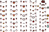 Collection of cute lovely kawaii emoticon emoji Doodle cartoon face , smile , happy , wink , excited , sleepy , chill , kiss , crazy , sweet in childlike manga cartoon style - Vector file EPS10
