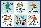 Collection of cute Merry Christmas and Happy New Year greeting cards. People skate on the rink holiday posters templates, postcard design. Vector illustration.