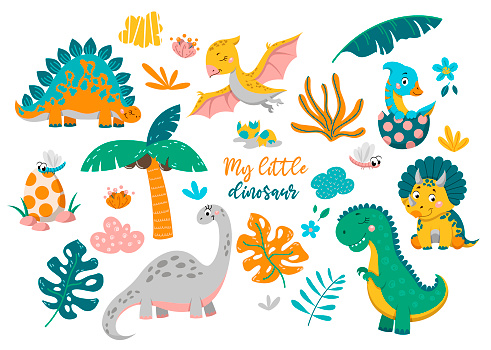 Collection of cute of baby dinosaurs