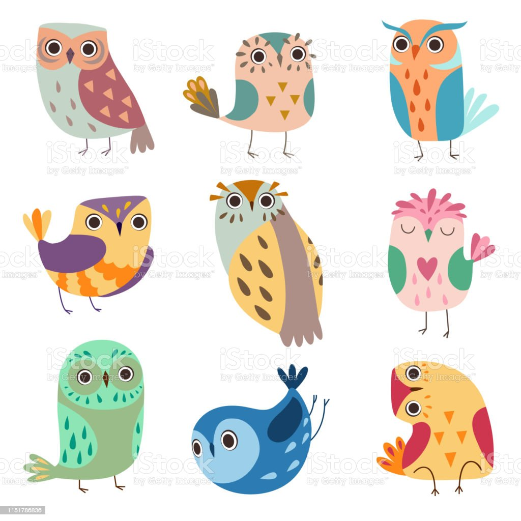 かわいいフクロウのコレクションカラフルな愛らしいフクロウの鳥ベクトルイラスト いたずらのベクターアート素材や画像を多数ご用意 Istock