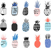 Collection of cute pineapples with different hand drawn textures