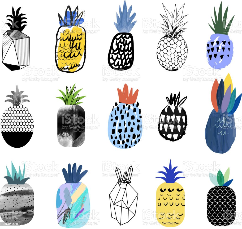 Collection of cute pineapples with different textures. vector art illustration