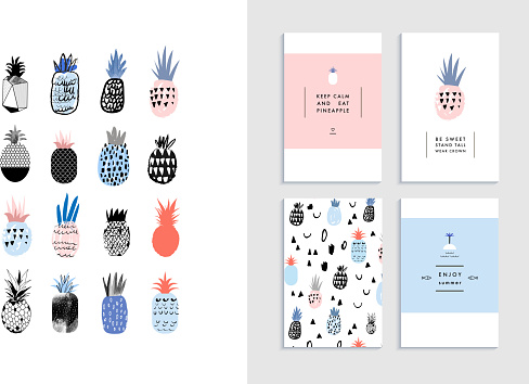 Collection of cute pineapples with templates of cards