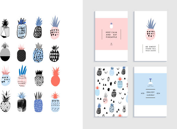 Collection of cute pineapples with templates of cards vector art illustration