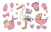 Collection of cute pink cartoon style illustrations for newborn baby girl, including stork, stroller, bottle and pacifier