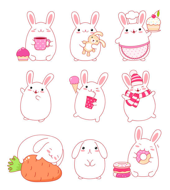 illustrazioni stock, clip art, cartoni animati e icone di tendenza di collection of cute rabbits - chef triste
