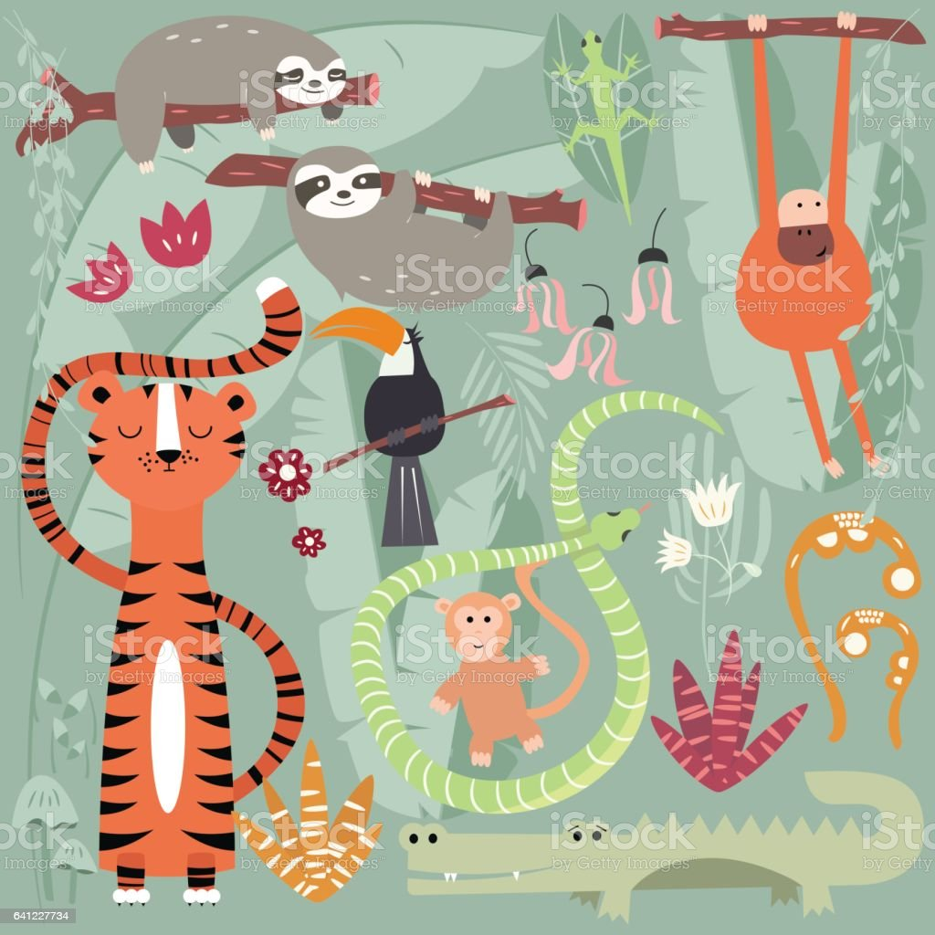 Collection of cute rain forest animals, tiger, snake, sloth, monkey, vector illustration vector art illustration
