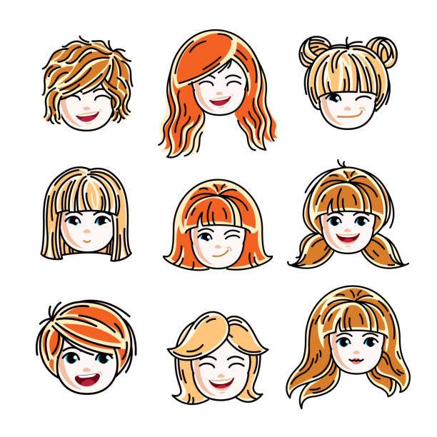 collection of cute smiling girls faces expressing positive emotions, vector human head illustrations. set of red-haired and blonde teenage girls with beautiful face features, clipart. - redhead stock illustrations, clip art, cartoons, & icons