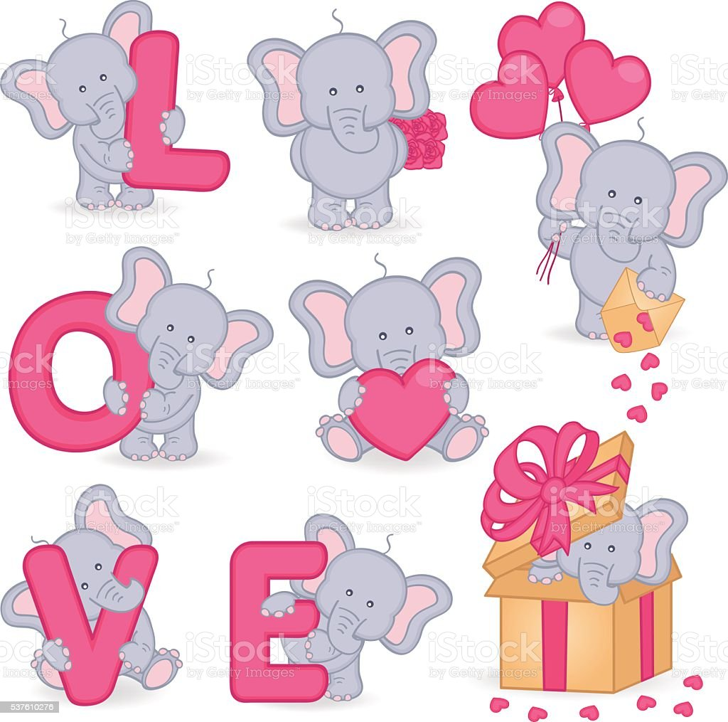 collection of cute valentine elephant royalty free stock vector art - Elephant Valentine