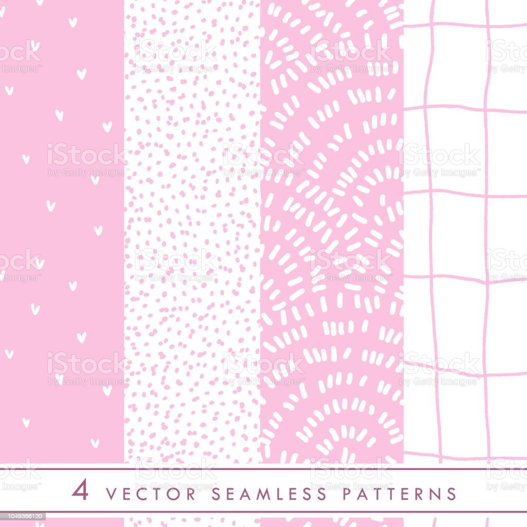 Collection of cute vector seamless patterns in pink and white colors. vector art illustration