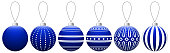 Collection of dark blue glass Christmas balls with pattern hanging on a thread. Vector EPS 10