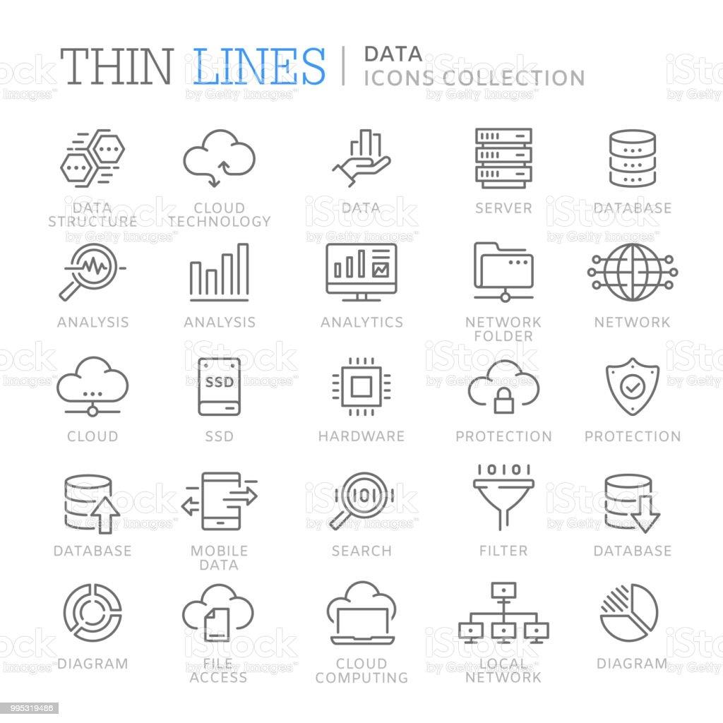 Colección de iconos de línea de datos ilustración de colección de iconos de línea de datos y más vectores libres de derechos de archivo libre de derechos