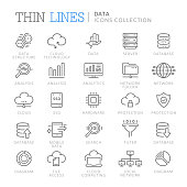 Collection of data thin line icons. Vector eps 8