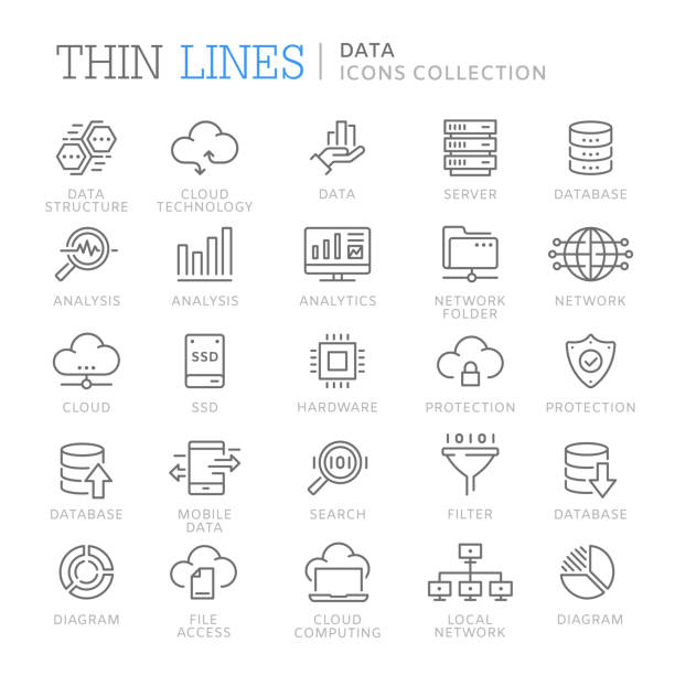 Collection of data line icons Collection of data thin line icons. Vector eps 8 information technology stock illustrations