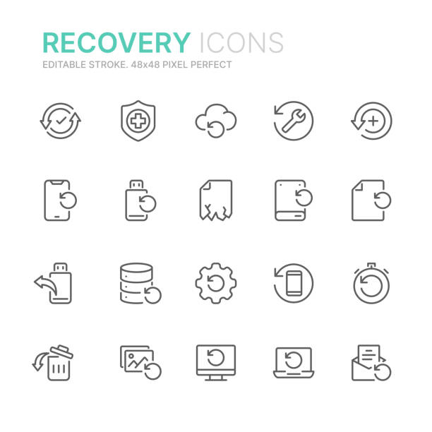 Collection of data recovery related line icons. 48x48 Pixel Perfect. Editable stroke Collection of data recovery related line icons. 48x48 Pixel Perfect. Editable stroke recovery stock illustrations